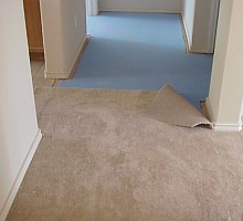 The carpet cushion is shown in the upper part of the picture, and the carpet is installed on top of it.